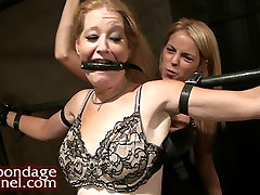 Lesbian Domination. Young Girl Whips MILF and makes her cum