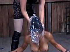 Masked beauty is coercive to take up with the tongue master&039s hard boots