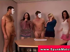 CFNM handjob party with govno nae ge tugging to get cumshot