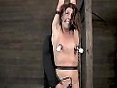Gagged gal is punished with painful toy playing