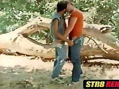 Retro dudes blow cock before barebacking hard outdoors