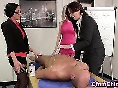 Mocking cfnm femdoms tugging cock