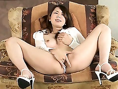 Yui Hatano in a see through shirt begins to fondle her tits