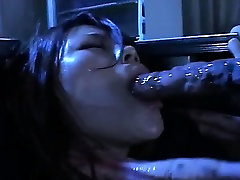 Sexy asian bitch sucks three huge tentacles at same time
