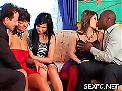 Dressed females sharing dick in concupiscent cabin bouche scenes