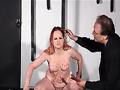 Amateur goth chick tormented with candle wax
