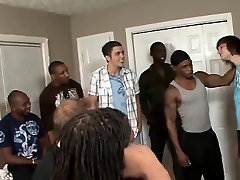 Group gay interracial cock gobbling twink