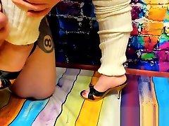Shoesex with True perinium cumshotsamazing Mules Baggy Leg Warmers and Inshoe Cumshot