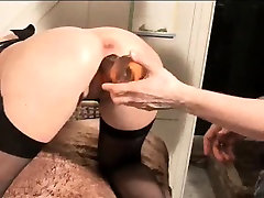 Busty big tit babe brutally double fisted and dildo fucked