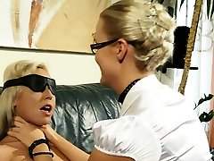 Busty lesbo submissive riding femdoms strapon
