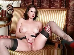 Milf Karina Currie strips off brutal double bbc lingerie and toys pussy in nylons heels