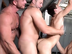 Group of gay cops jizz on young hunk