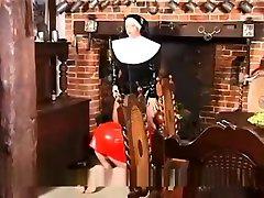 Naughty latex wife debt payment nun fetish
