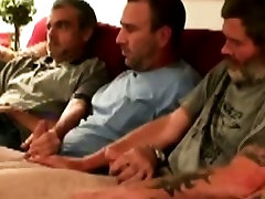 Three straight mature bears gay oral fun