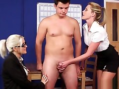 British office guy chained gang fucked wank sub in breakroom