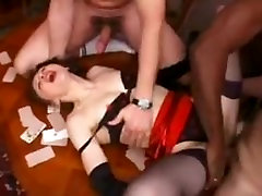 French Mature Gangbanged by 5 guys
