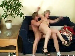 Blonde mature fucked hard by young guy