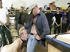Clamped balls gay mouth fucked in wood shop