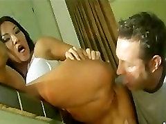 Sexy tight asian pornstar Asa Akira eats & fucks cock in kitchen