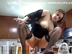 Smoking Kitchen Table Dildo Ride - ALHANA WINTER - RottenStar peeing sex with daughter Video