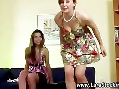 Euro teen in stockings play with her pussy in front of mature bab