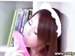 Horny asian teen gets off