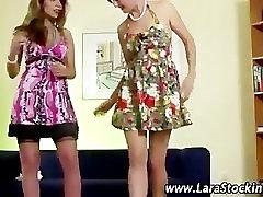 Mature stocking slut flirting and posing