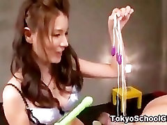 Japanese asian teen anal toy play