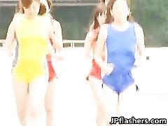Asian amateur competes nude in track part4