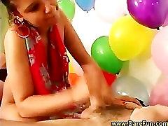 Teen orgy group girl gives handjob and blowjob