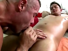 Vigorous gay straight blowjob