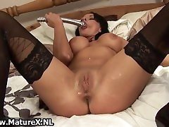 Horny mature wife in black stockings part4