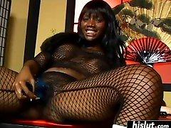 Ebony Femdom Pegging Strapon