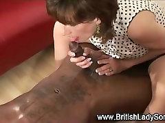 Mature stocking brit lady sonia interracial handjob cumshot