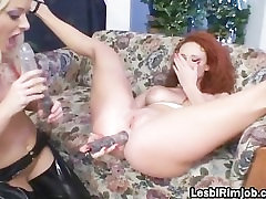Slutty lesbian gets pussy and ass filled part1