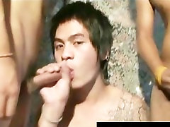 Cute asian twink gets facial in horny part1