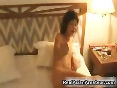 Tinny asian smoking and gets a big ride part2