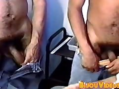 Mature with mustaches gives blowjob in retro session