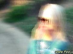 Horny blonde teen strips