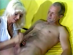Sandra gives mature guy awesome CFNM handjob with explosive orgasm