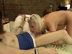 Busty blonde sucks and fucks tranny