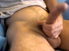 Straight hispanic guy works hairy cock online for first time