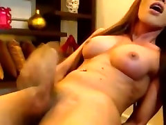 Clips 4 Sale: Sexy latin shemale cumming all over her stomach