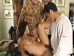 Beautiful girl gets fucked by three guys