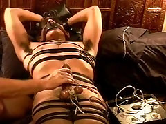 CBT Precum streams from electro stim to my hot young bottoms balls