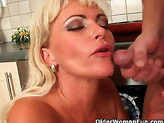 Blonde soccer mom with curvy body gets fucked and facialized