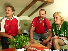 Granny has to get fucked by two men