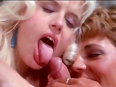 Vintage HD FFM blowjob cumshot, girls sucking cock cum in mouth, 2 blondes licking dick till it cums