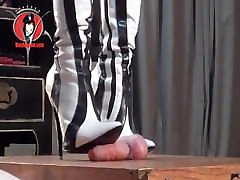 Domme Boots Trample Cock Of Naked male slave Two