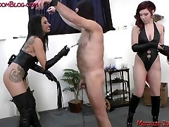 Two Femdom Mistresses torture and milk male slave